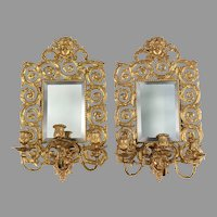 Pair of French 19th C. Pierced Brass Sconces, Three Arms