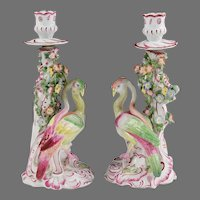 18th C. Pair of English Bow Porcelain Candlesticks