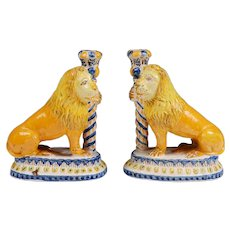 Pair of Italian Maiolica Renaissance Style Candlesticks With Lions