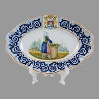 18th C. Faience Lozenge Shaped Tray by Hubandiere