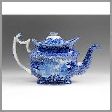 1804-29 Historical Blue Adams Teapot, Gables Farm