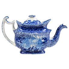 1804-29 Historical Blue Adams Teapot, Gables Farm