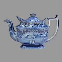 Historical Staffordshire Blue Teapot, Rural Estate