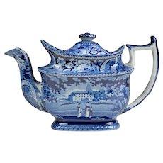 Historical Staffordshire Blue Teapot, Rural Estate