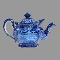 Historical Staffordshire Blue Teapot, Eagle Over Panel