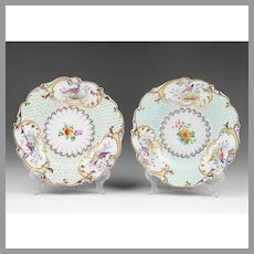 Pair of Late 18th C. Derby Mayflower Plates With Bird Vignettes