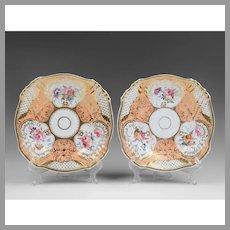 Pair of English Rockingham Style Rococo Plates