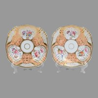 Pair of English Rockingham Style Rococo Plates