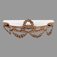 Bronze & Marble Wall Console with Floral Garlands