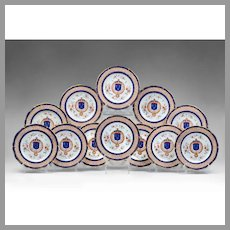 Set of 12 Chinese Export Armorial Hand Painted Plates