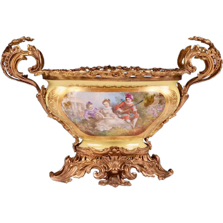 Late 19th C. Center Bowl Mounted in Bronze
