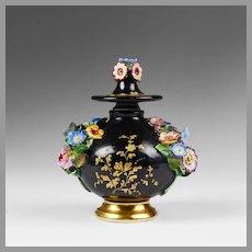 Jacob Petit 1850 Perfume Bottle, Encrusted Flowers