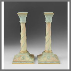 Pair of Adams Style Worcester Columnar Candlesticks