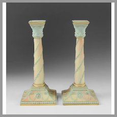 Pair of Adams Style Worcester Columnar Candlesticks
