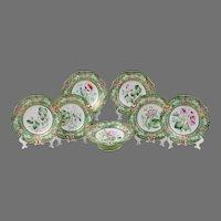 Ridgway Botanical Dessert Set, 19th C., 7 Pieces