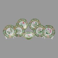 Ridgway Botanical Dessert Set, 19th C., 7 Pieces