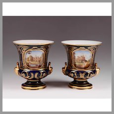 Pair of Royal Crown Derby Campana Urns