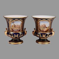 Pair of Royal Crown Derby Campana Urns
