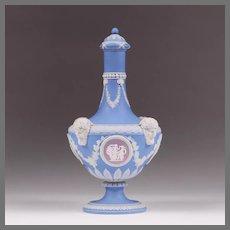 19th C. Wedgwood Blue Tri-Color Barber Bottle
