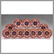Set of 12 Royal Crown Derby Dessert Plates, 1901