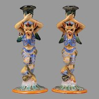 Cantagalli Majolica Candlesticks, Late 19th C.