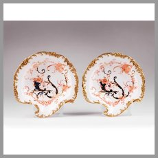 Pair of Royal Crown Derby Leaf-Shaped Shallow Bowls, 1893