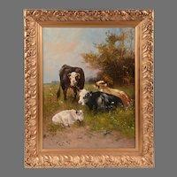 Oil on Canvas of Cows by Henry Schouten (Belgian, 1857-1927)