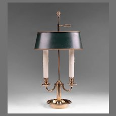Vintage Louis XVI Style Bouillotte Brass Lamp, Green Adjustable Shade