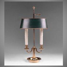 Vintage Louis XVI Style Bouillotte Brass Lamp, Green Adjustable Shade