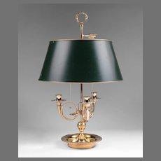 Vintage Louis XVI Style Bouillotte Brass Lamp, Adjustable Shade
