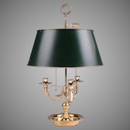 Vintage Louis XVI Style Bouillotte Brass Lamp, Adjustable Shade