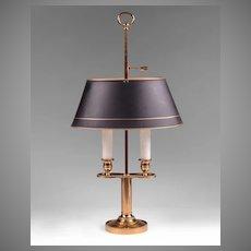 Vintage Brass Bouillotte Lamp, Black Adjustable Shade