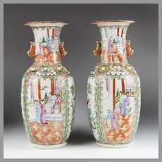 Pair of Early 20th C. Rose Medallion Chinese Export Vases