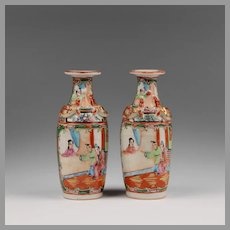 Pair of Small Mid 19th C. Rose Medallion Chinese Export Vases
