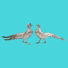 Pair of Italian Silver Plate Pheasants