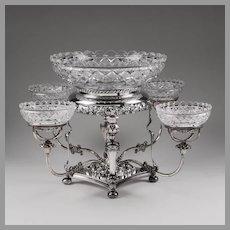 William Adams Silver Plate Cut Glass Epergne
