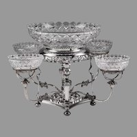 William Adams Silver Plate Cut Glass Epergne
