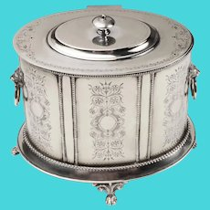 Edwardian Sheffield Silver Biscuit Box on Stand