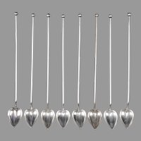Theodore Starr Sterling Silver Mint Julep Straw Spoons, 8