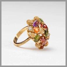 H. Stern 18K Gold Cluster Ring, Multiple Gemstones
