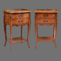 Pair of Louis XV Style Marquetry Side Tables