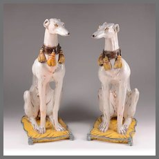Pair of Italian Glazed Terracotta Whippets on Pillows