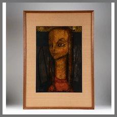 Ryonosuke Fukui Painting On Paper of Girl