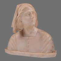Italian Alabaster Joan Of Arc Bust on Stand