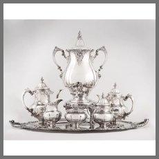 Wallace Grande Baroque Sterling Silver & Silver Plate Tea Set