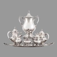 Wallace Grande Baroque Sterling Silver & Silver Plate Tea Set