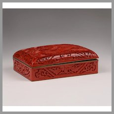 Chinese Cinnabar Enameled Hinged Box