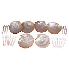 Vintage Mother of Pearl 24 Pc. Caviar Serving Set