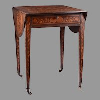 19th C. Dutch Marquetry Drop Leaf Table