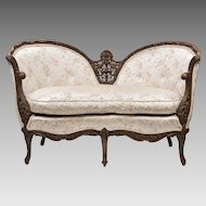 Early 20th C. Fruitwood Carved Louis XV Style Settee Or Loveseat